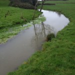 The downstream section of river in need of improvements