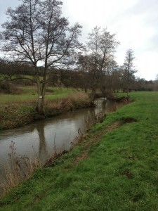 The Midford Brook project site, overwidened and straightened.